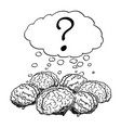 cartoon of group of human brains thinking vector image