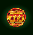casino golden slots machine with 777 vector image vector image