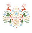 christmas deer merry christmas greeting card vector image