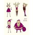 christmas funny girls set vector image vector image