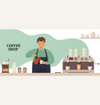 coffee shop young barista at bar makes a hot vector image