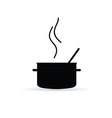 cooking pot icon silhouette vector image vector image