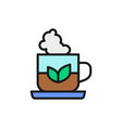cup indian tea flat color line icon vector image vector image