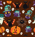 flat halloween symbols seamless pattern vector image vector image