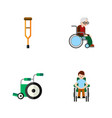 flat icon disabled set of stand wheelchair vector image vector image