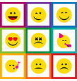 flat icon face set of party time emoticon vector image vector image