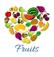 Fruits heart exotic farm farvest poster vector image vector image
