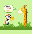 giraffe and zebra are best friend cartoon vector image