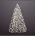 glowing christmas tree made lights and garlands vector image vector image