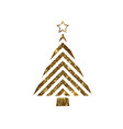 golden glitter christmas tree flat icon vector image vector image
