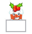 grinning with board character christmas cupcake vector image vector image