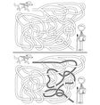 Guide dog maze vector image vector image