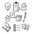 hand drawn simple set check marks line icons vector image vector image