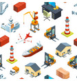 isometric marine and sea port pattern vector image vector image