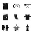laundry room icons set simple style vector image