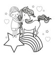 line boy and unicorn in the rainbow with star and vector image