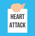 man showing paper heart attack text vector image vector image