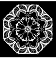 Mandala white on black Ethnic monochrome vector image