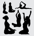 meditation and yoga people action silhouette vector image vector image