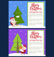 merry christmas and funny tree vector image vector image
