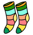multicolor socks on white background vector image vector image