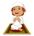 muslim boy praying vector image vector image