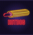 neon hot dog france retro sign on brick wall vector image vector image