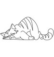 outlined tired cat vector image
