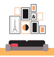picture frames on the wall and a sofa interior vector image vector image
