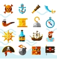 Pirates Color Icons Set vector image