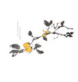 plum tree chinese painting with japanese wave vector image