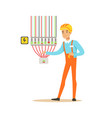 professional electrician man character checking vector image vector image