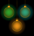 self-illuminated Christmas balls on black vector image vector image
