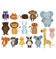 set animals collection cartoon animals vector image vector image
