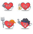 set of heart character with doctor money bag vector image vector image