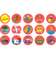 set of summer theme icons vector image vector image
