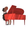 sheep playing the piano cute musician animal vector image