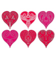 six red valentine heart with decorative lines vector image