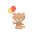 smiling teddy bear holding balloons and little bag vector image