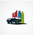 suv car on city logo designs concept for company vector image vector image
