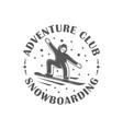 vintage snowboarding label vector image vector image