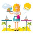 waitress flat style colorful cartoon vector image vector image