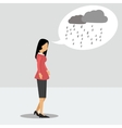 woman in depression with a rainy thoughts vector image vector image