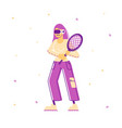 woman in sports wear and vr goggles holding tennis vector image