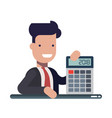 young businessman or manager with calculator in vector image
