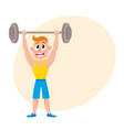 young man squatting with barbell doing sport vector image