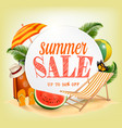 summer sale template banner with colorful beach vector image