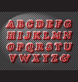 realistic red glass font vector image