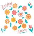Set of flowers and floral elements isolated on vector image