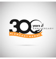 300 years anniversary logo with ribbon and hand vector image vector image